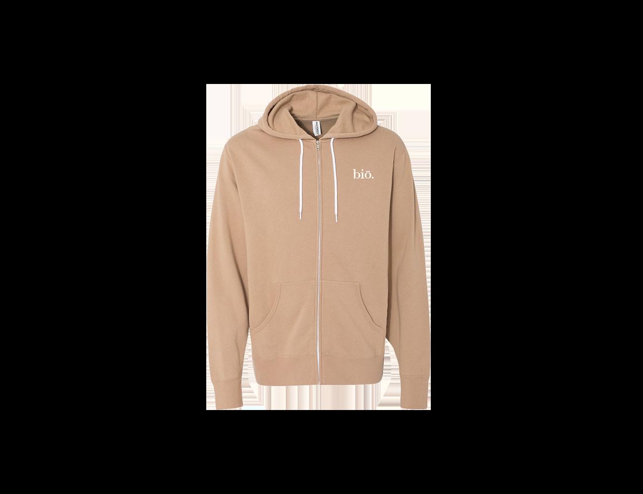 bio zippered hoodie